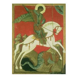Carte Postale Icône de St George et du dragon