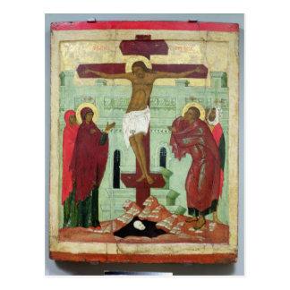 Carte Postale Icône dépeignant la crucifixion avec la Vierge