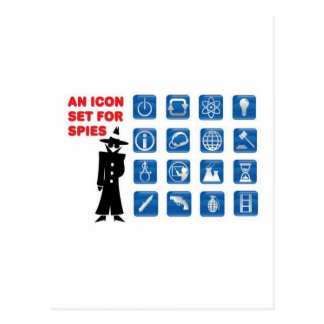Carte Postale Icônes bleues d'espion