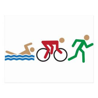 Carte Postale Icônes de logo de triathlon en couleurs