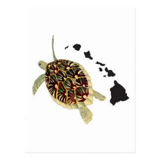 Carte Postale Îles d'Hawaï et tortue d'Hawaï