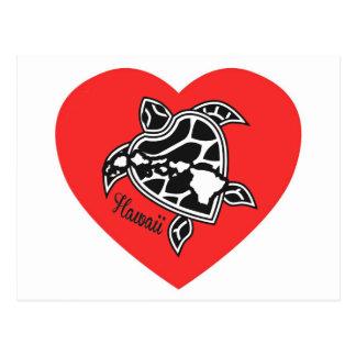 Carte Postale Îles et tortues d'Hawaï d'amour