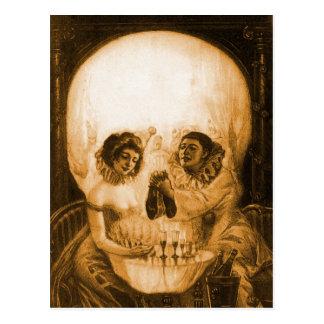 Carte Postale Illusion optique de crâne victorien vintage de