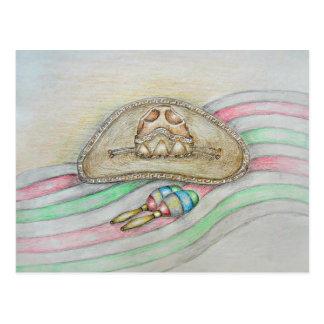 Carte Postale Illustration de casquette et de maracas
