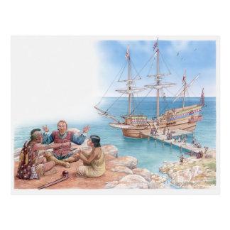 Carte Postale Illustration de Pocahontas et de son père