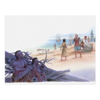 Carte Postale Illustration de Pocahontas parlant avec le