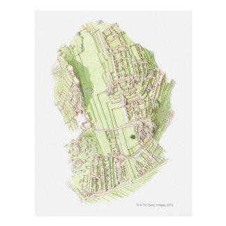 Carte Postale Illustration de ville précolombienne d'Inca de