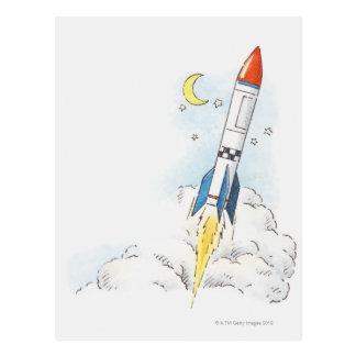 Carte Postale Illustration d'un décollage de fusée