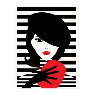 Carte Postale Illustration élégante française de mode de mode