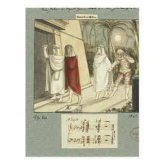 Carte Postale Illustration pour la cannelure magique de Mozart