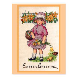 Carte Postale Illustration vintage de Pâques de salutations de