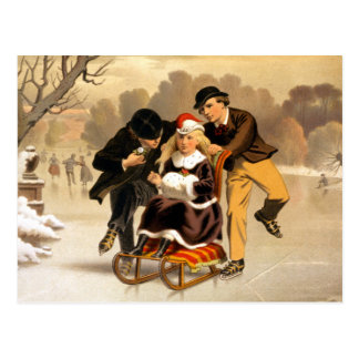 Carte Postale Illustration vintage Sledding et de patinage
