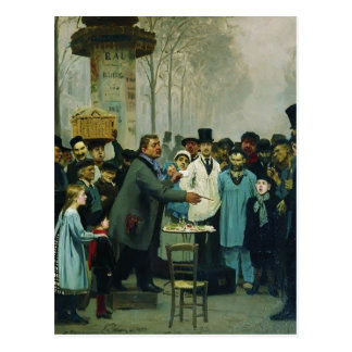 Carte Postale Ilya Repin- un vendeur de journal à Paris