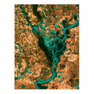 Carte Postale Image de méandre de satellite du Mississippi