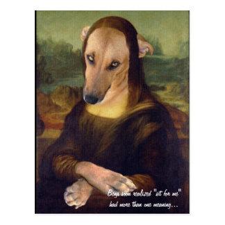 Carte Postale Image drôle de Meme de chien de Mona Lisa