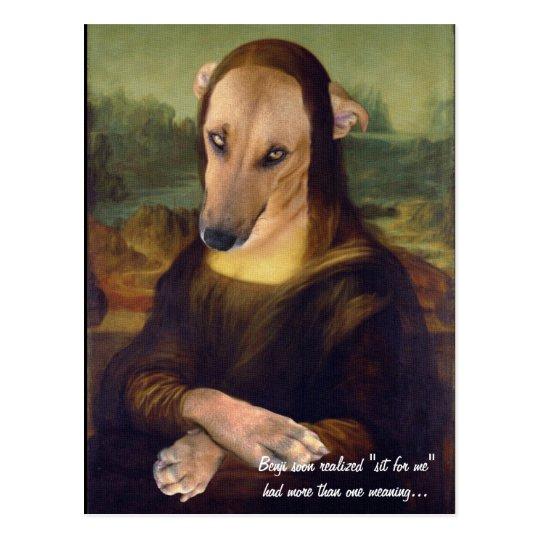 Carte Postale Image Drole De Meme De Chien De Mona Lisa Zazzle Be