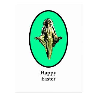 Carte Postale Image heureuse Cantorbéry de Pâques le Christ cyan