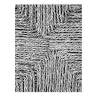 Carte Postale Image noire et blanche tissée rustique de motif