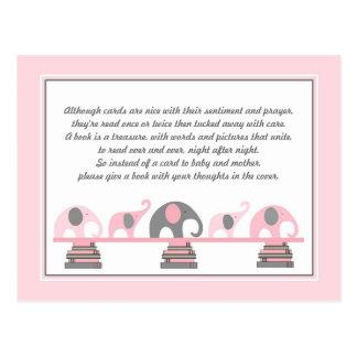 Carte Postale Insertion d'éléphants roses pour le baby shower de