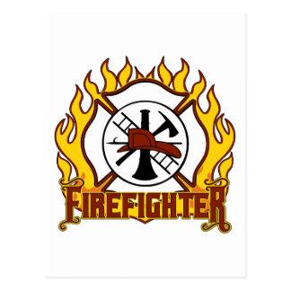 Carte Postale Insigne et feu de sapeur-pompier