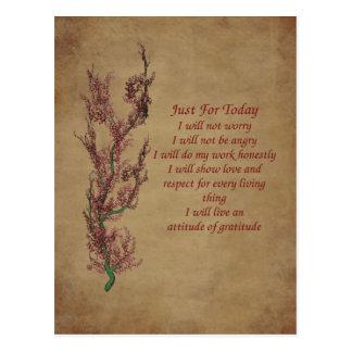 Carte postale inspirée de prière d'attitude de