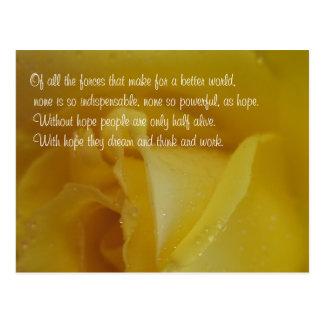 Carte postale inspirée de rose d'or de citation
