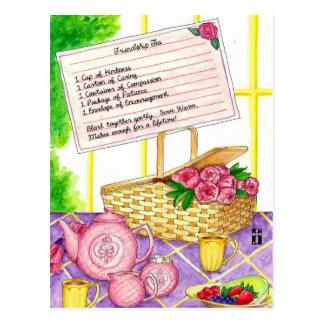 Carte postale inspirée de thé d'amitié