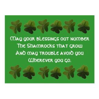Carte postale irlandaise de shamrock de