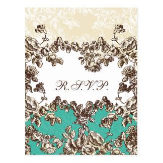 Carte Postale Ivoire chic et mariage floral vintage de Teal