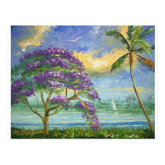 Carte Postale Jacaranda et palmier