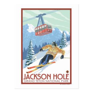 Carte Postale Jackson Hole, skieur du Wyoming et tram