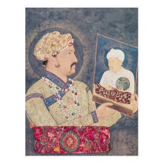 Carte Postale Jahangir tenant un portrait d'empereur Akbar