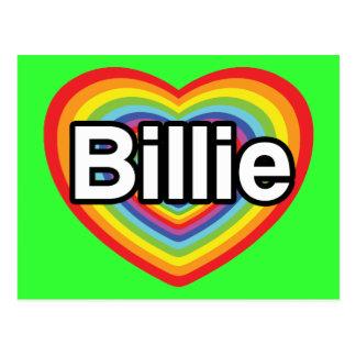 Carte Postale J'aime Billie : coeur d'arc-en-ciel