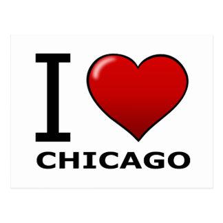 CARTE POSTALE J'AIME CHICAGO, IL - L'ILLINOIS