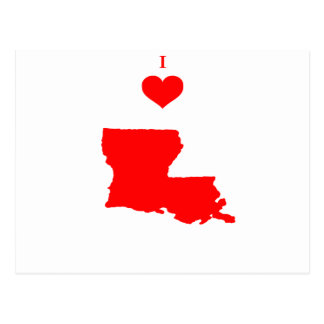 Carte Postale J'aime (coeur) la Louisiane