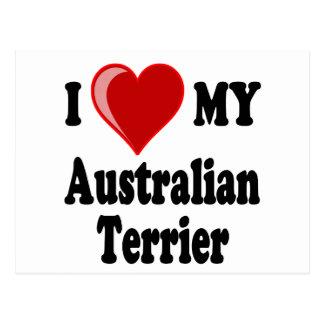 Carte Postale J'aime (coeur) mon chien de Terrier australien