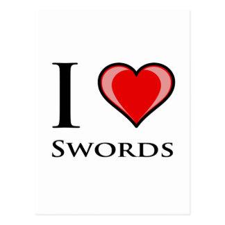Carte Postale J'aime des épées