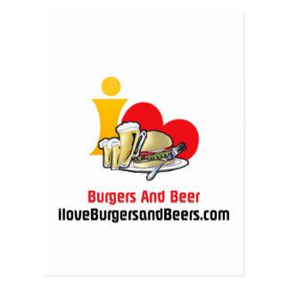Carte Postale J'aime des hamburgers et des hamburgers de bière