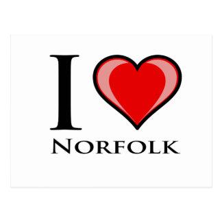 Carte Postale J'aime la Norfolk