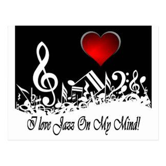 Carte Postale J'aime le jazz sur ma ville Scape d'esprit
