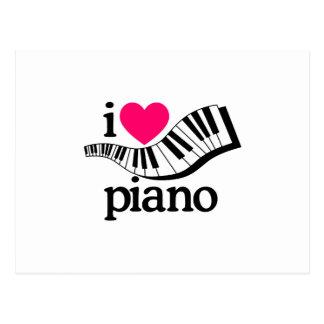 Carte Postale J'aime le piano/clavier