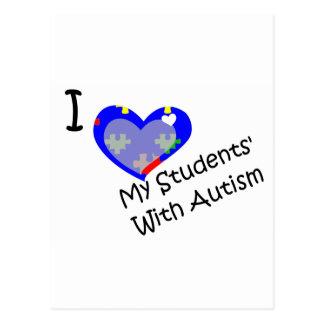Carte Postale J'aime mes étudiants avec l'autisme