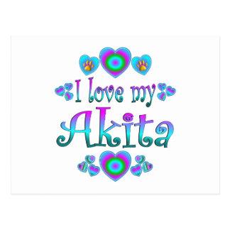 Carte Postale J'aime mon Akita