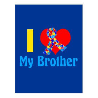 Carte Postale J'aime mon bleu de sensibilisation sur l'autisme
