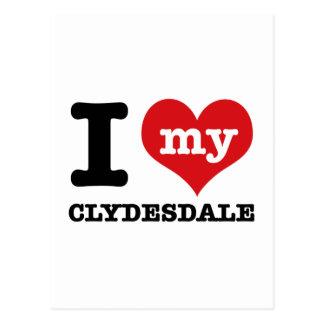 Carte Postale J'aime mon clydesdale