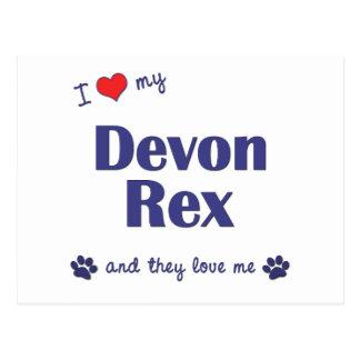 Carte Postale J'aime mon Devon Rex (les chats multiples)