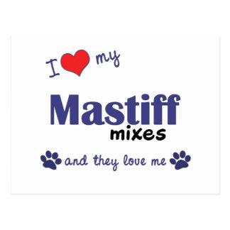 Carte Postale J'aime mon mastiff se mélange (les chiens