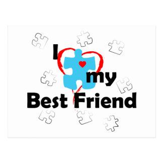 Carte Postale J'aime mon meilleur ami - autisme