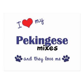 Carte Postale J'aime mon Pekingese se mélange (les chiens