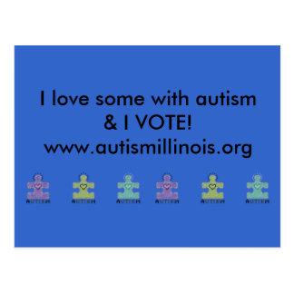 Carte Postale J'aime quelqu'un avec l'autisme et JE VOTE !
